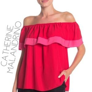 NWT Catherine Malandrino red pink ruffle blouse M